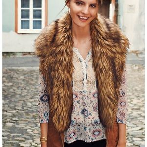 Anthropologie Faux Fur Collar Vest